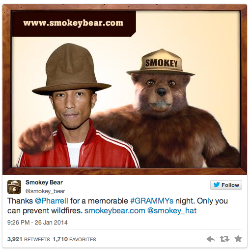 smokey the bear pharrell tweet