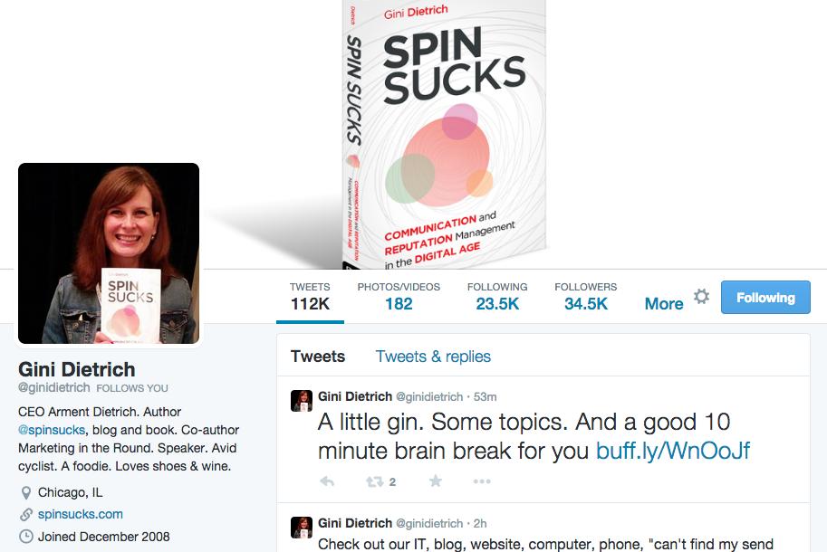 Gini Dietrich Twitter Bio