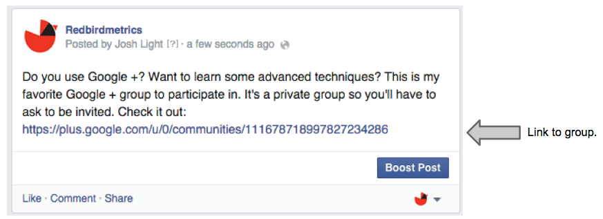 sharing a google plus group on Facebook Page