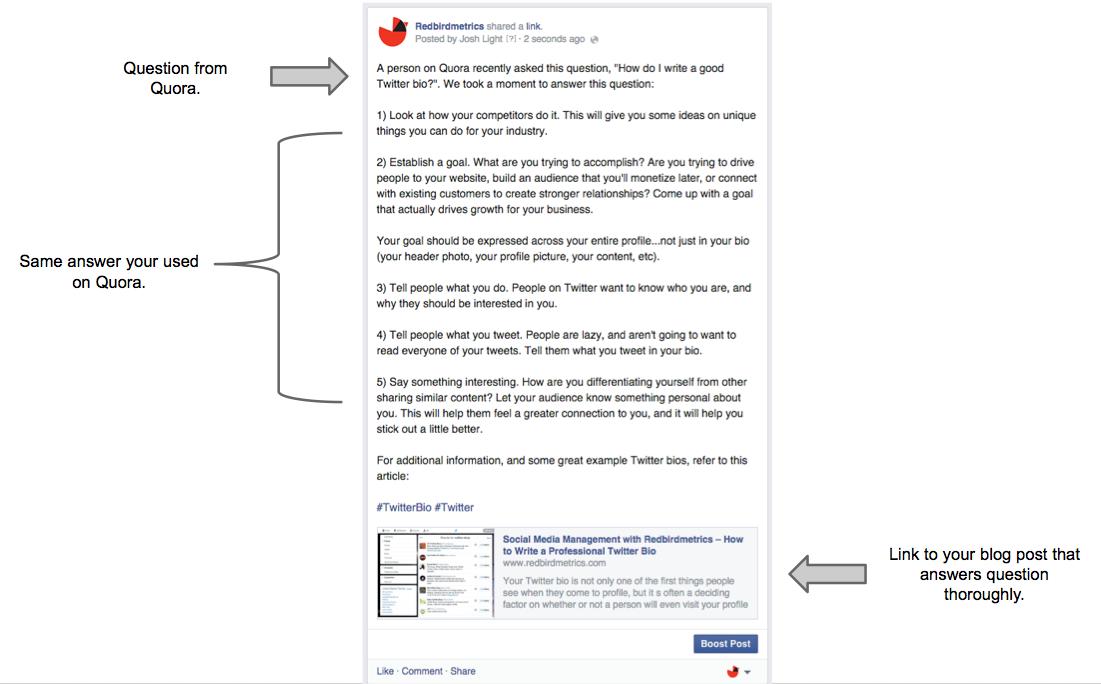 Posting a quora status update to Facebook