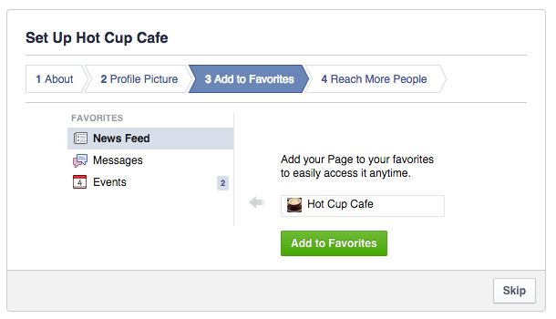setting up your facebook page