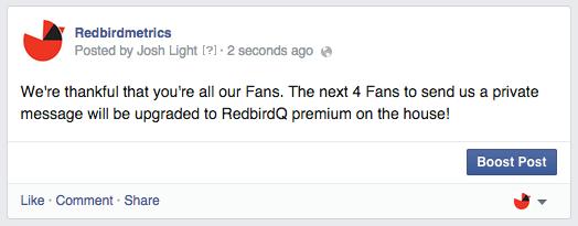 exclusive deal facebook status update
