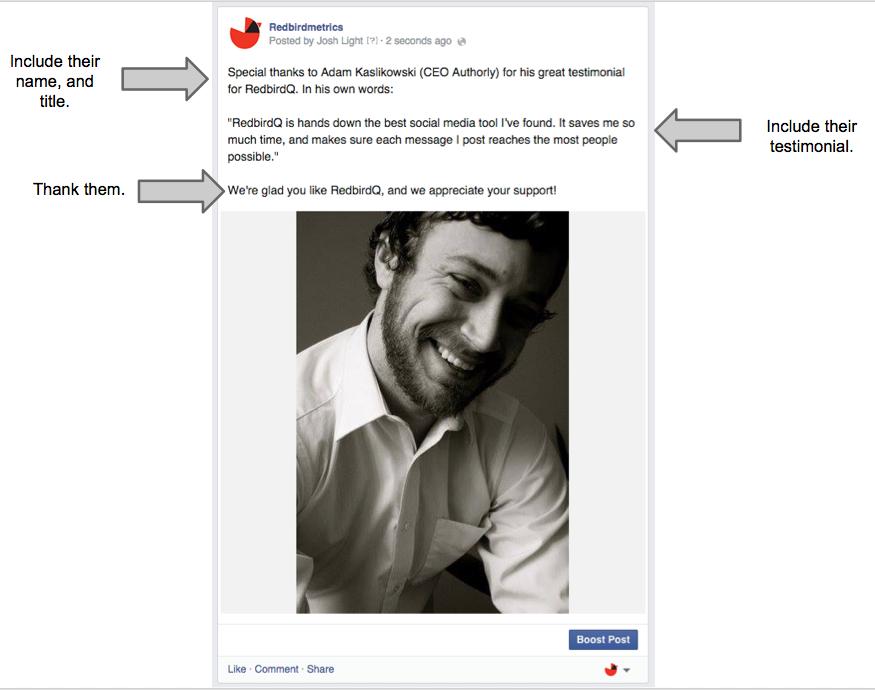 fan testimonial facebook status update
