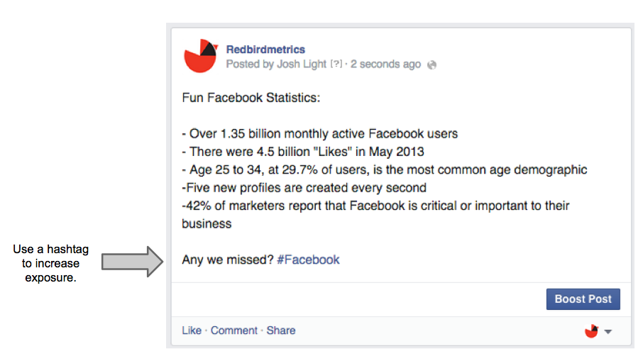 share stats on Facebook Page
