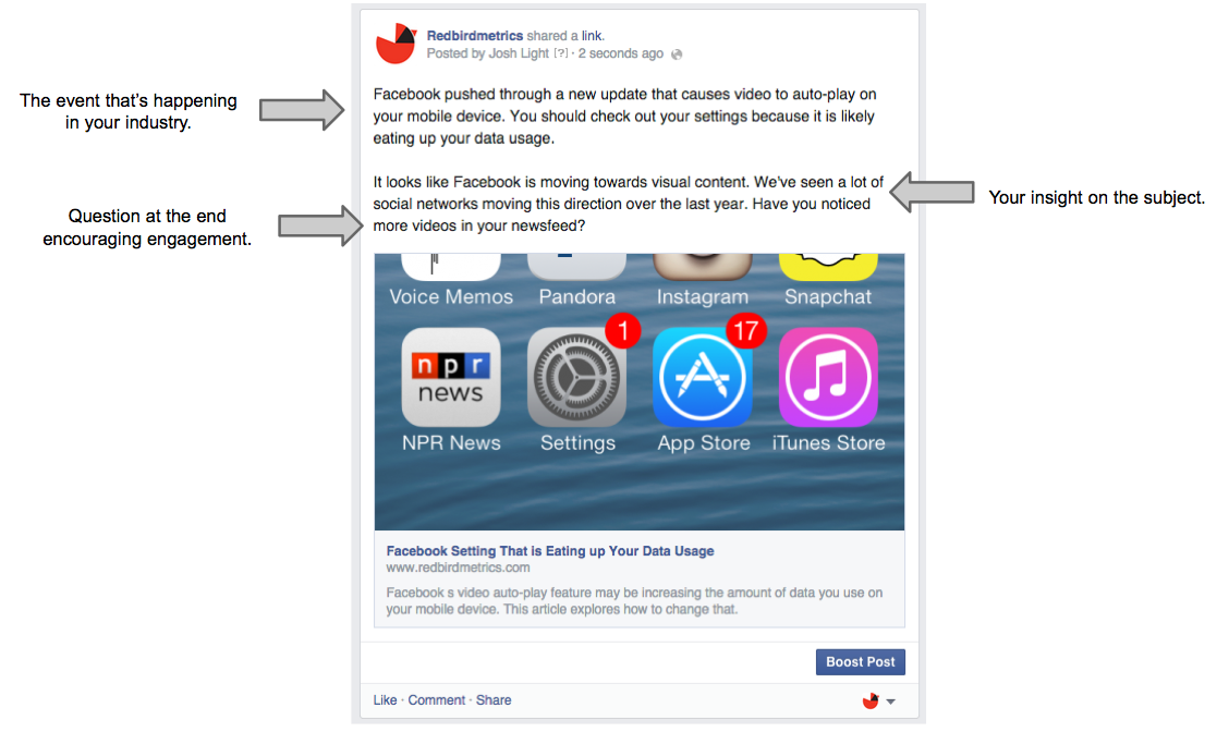 sharing industry news on your Facebook business page
