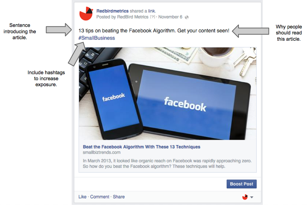 sharing articles on your facebook business page