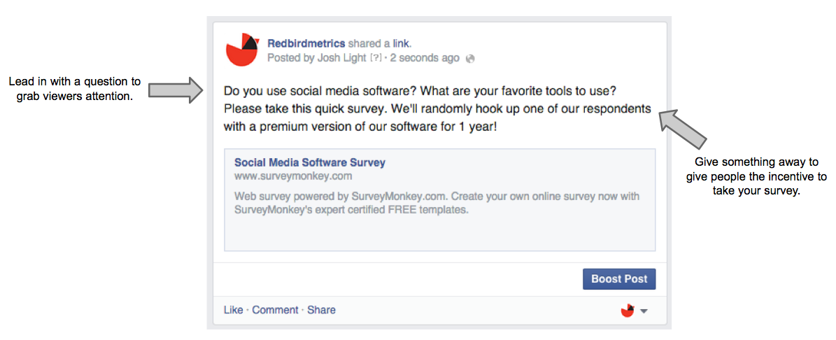 how to post a survey to Facebook