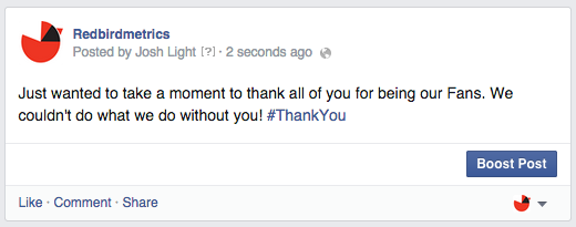 thanking fans status update