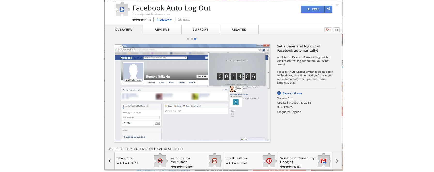 facebook auot log out chrome extension