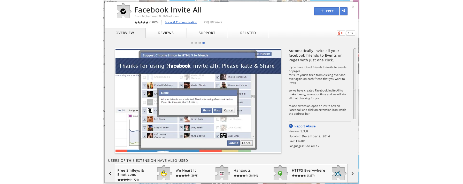 facebook invite all chrome extension