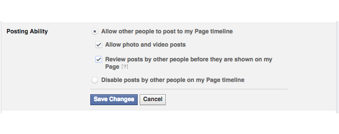 posting ability facebook setting