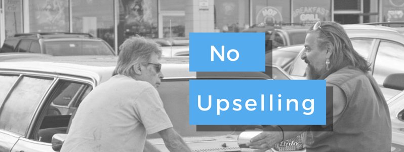 no upselling on twitter